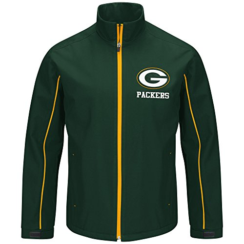 Jacket Zip Licensed Full (G-Iii Sports by Carl Banks Varsity Soft Shell Full Zip Jacket, Med, Green)