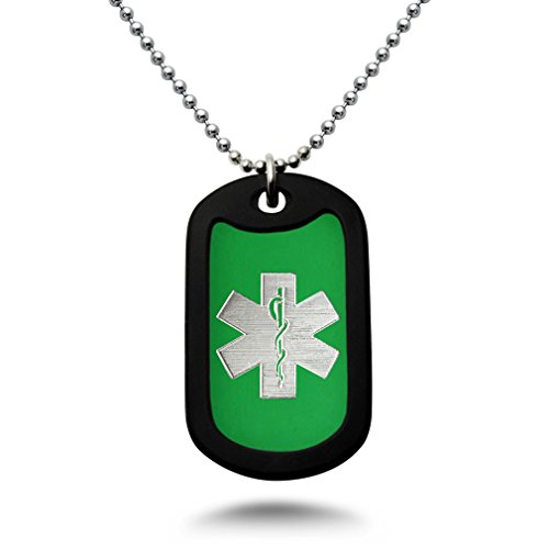 (Carved LA Medical Alert ID, Personalized Custom Engraved Medical Alert ID Aluminum Dog Tag Necklace with Stainless Steel Bead Chain Made in USA (Green) AN164)