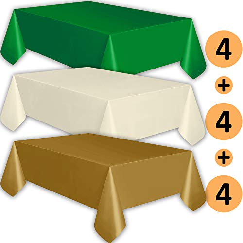 - 12 Plastic Tablecloths - Emerald Green, Ivory, Gold - Premium Thickness Disposable Table Cover, 108 x 54 Inch, 4 Each Color