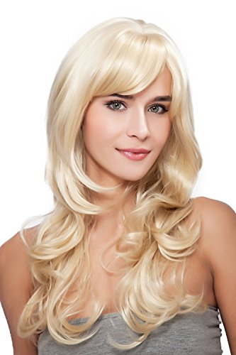 Long Wigs With Bangs (Kalyss Long Women's Blonde Side Bangs Deep Curly Wave Heat Resistant Full Hair Wigs)
