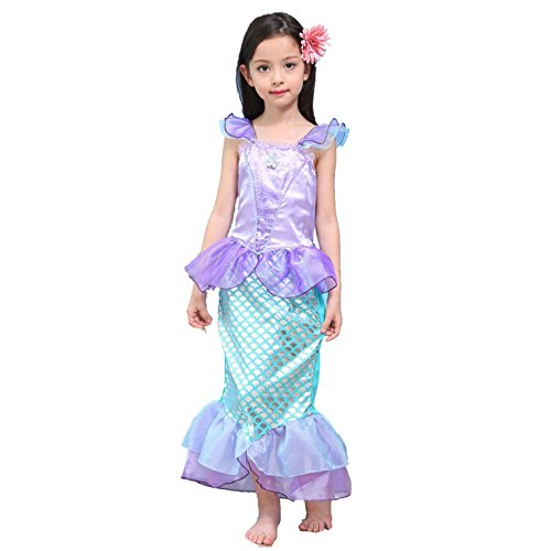 [Leiwo Girl's Kids Princess Mermaid Bodysuit Tail Dress Party Costume 130CM] (Victorian Costumes Rental)