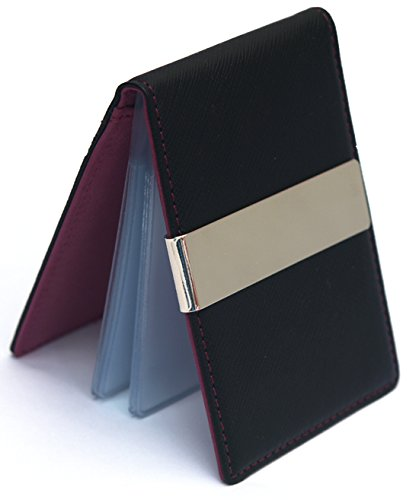 New Faux Leather Metal Money Clip Mens Wallets 12 Credit Card Plastic Holder Purse (Wine) (Money Clip Euro)