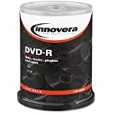 Innovera 46890 DVD-R 4.7GB 16X Discs with Spindle, Silver, 100 per Pack