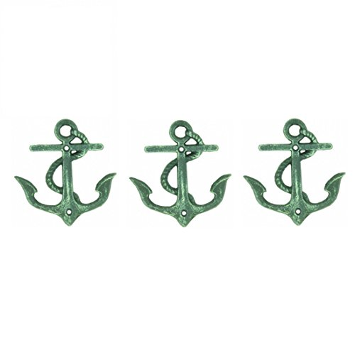 Nautical Sea Anchors Heavy Duty Wall Hooks - Set of 3 - Antique Weathered Verdigris Green Finish (Finish Verdigris Wall)