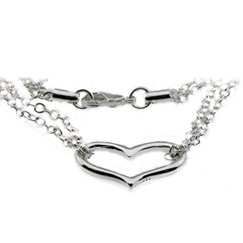 Silver Open Heart Love Charm Valentines Anniversary Bracelet Jewelry Gift for Girlfriend Teen Girl - Bracelet Open Heart Strand