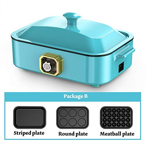 Electric baking pan Grill Household Cooking 2-5 Interchangeable Skillets for Grilling, Baking Or Dessert Making- Takoyaki, Sandwiches and Much More (Color : 3, Size : B)