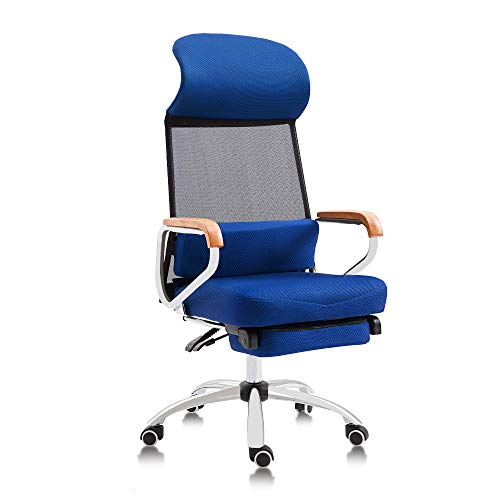 Cloth Reclining Racing Seat - Reclining Office Chair Mesh High Back Executive Chair Ergonomic Breathable Design with Retractable Footrest,Blue