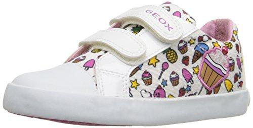 Geox B Kiwi Girl D, Zapatos de Primeros Pasos para Bebés Multicolor (White / Multi)