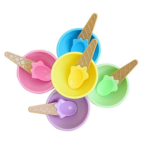 Pink Lizard Plastic Children Ice Cream Waffle Cone Bowls Spoons Cups Set (Plastic Waffle Cone Bowls compare prices)