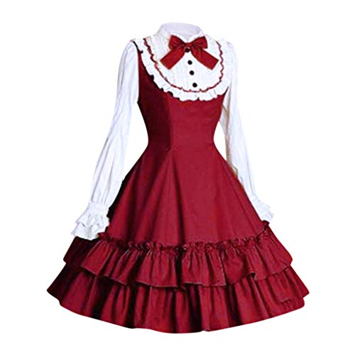 Spring Color  Women's Sweet Lolita Dress Princess Anime Puff Lace Retro Court Skirts Cosplay Costumes for Girls ()