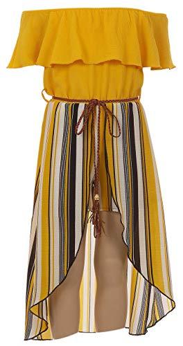 BluNight Collection Big GirlsOff Shoulder Ruffle Solid Stripe Romper Jumpsuit Maxi Dress Yellow 14 (2J1K42S)
