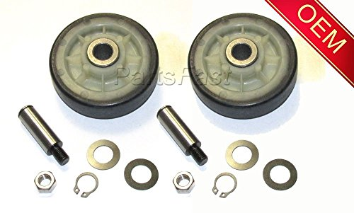 12001541, AP4008534, PS1570070, 303373, W10116741 NEW 2 PACK DRYER ROLLER KIT WITH SHAFTS (Drum Shaft)