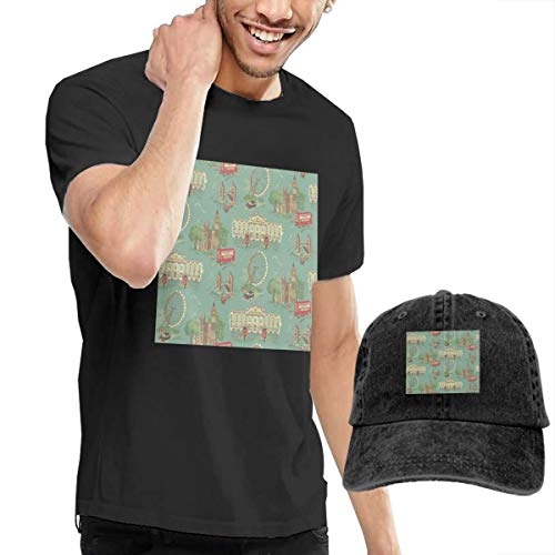 Hat New Knicks York Holiday - Men's Short Tee London Crew Neck T-Shirts and Baseball Cap Cotton Sleeve Shirts with Cowboy Peaked Hat