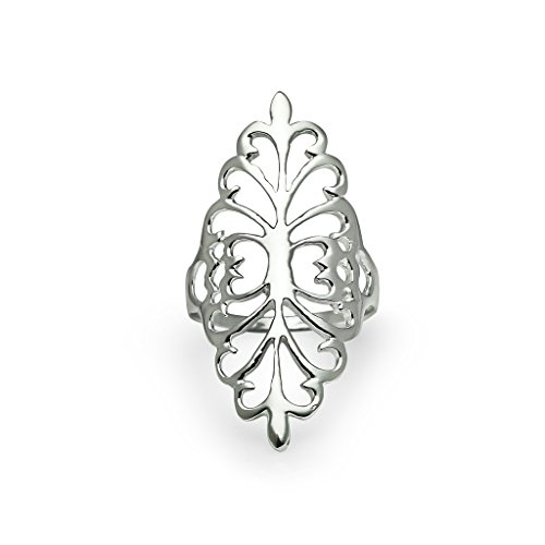 Sterling Silver Comfort Fit Filigree Long Full Finger Tree of Life Shield Ring for Women, Girls Size 9 (Full Shield Finger)