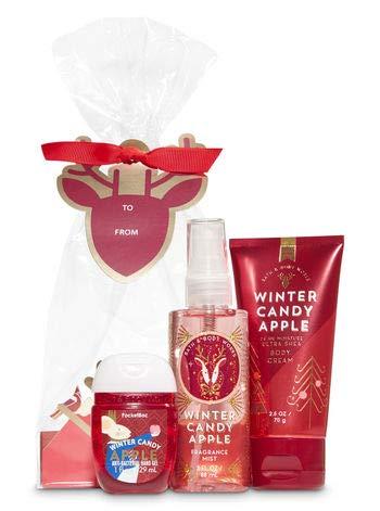 Bath and Body Works WINTER CANDY APPLE Holiday Traditions Mini Gift Set. Ultra Shea Body Cream (2.5 oz), Fine Fragrance Mist (3 fl oz), a PocketBac Hand Sanitizer (1 fl oz)