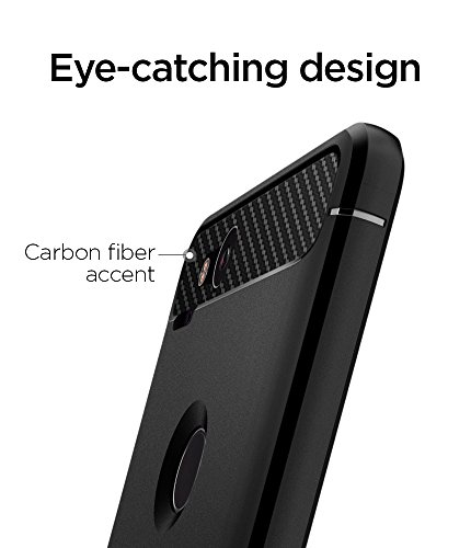 Large Product Image of Spigen Rugged Armor Google Pixel 2 Case with Resilient Shock Absorption and Carbon Fiber Design for Google Pixel 2 (2017) - Black