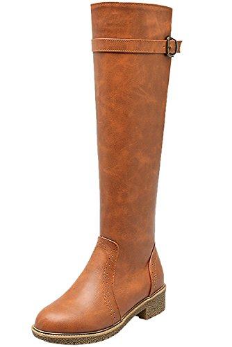 Cerniera ginocchio da alti Stivali Casual Donna equitazione BIGTREE Cinghia Stivali Piatto Autunno del Inverno Giallo Di Confortevole 5Axq0T66w