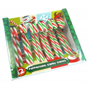 12 peppermint candy canes. Red, Green and White Candy Canes