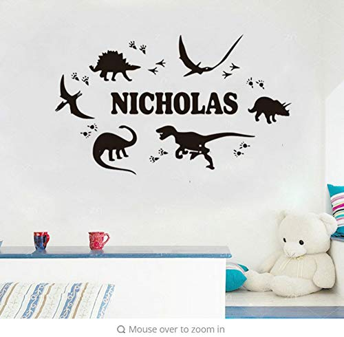 Aisufen Cool Custom Customized Name Dinosaur Footprint Customizable Wall Stickers Boy Bedroom Children's Wall Art Books Stickers Sticker 7743Cm