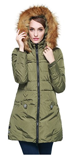 Orolay Women's Down Jacket with Faux Fur Trim Hood Green XL