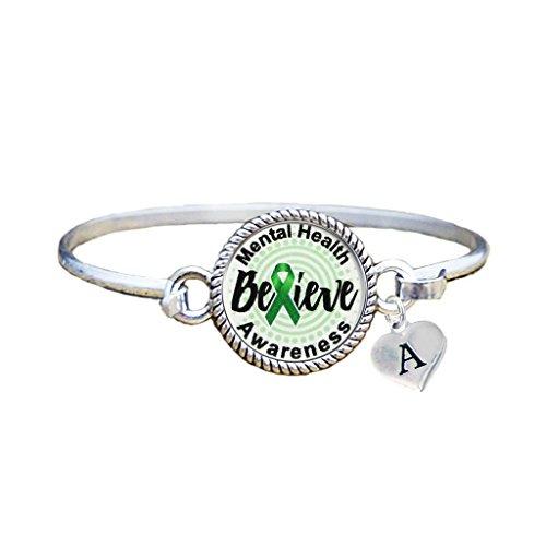 Bracelet Custom Mental Health Awareness Believe Silver Bracelet Jewelry Choose (Heart Health Awareness Bracelet)