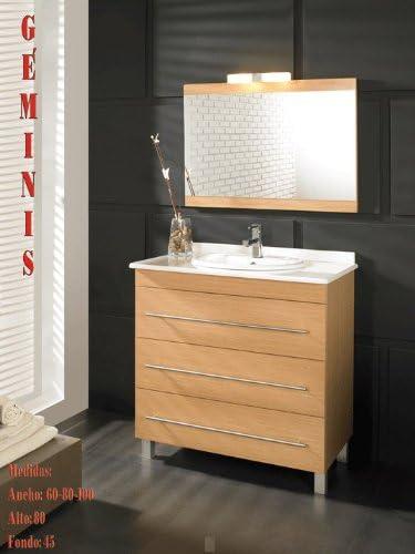 Atrios - Mueble de baño geminis cajones autocierre (80), color ceniza: Amazon.es: Hogar