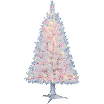 4 ft pre lit multi color white indiana spruce artificial christmas tree by holiday - 4 Ft White Christmas Tree