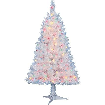 4 Ft Pre Lit Multi Color White Indiana Spruce Artificial Christmas Tree By Holiday Time By Holiday Time