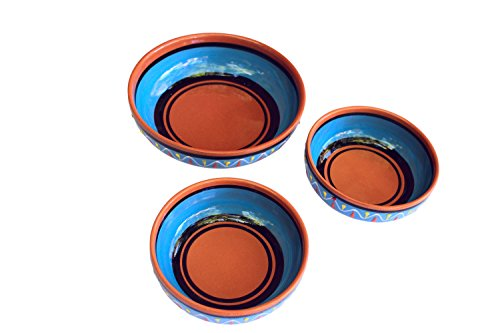 Terracotta Festive Set of 3 - Blue - Hand Painted In Spain ()