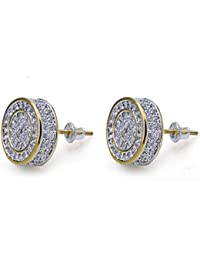 925 Sterling Silver Iced out CZ Premium Diamond Cluster...