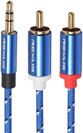 FC-STデュアルコアシングルモード光ファイバージャンパー 0.5メートル、小型、軽量で持ち運びが簡単:RCA入力インタフェースのアクティブスピーカー、長さのためにデュアルRCA金メッキプラグブルーコットン編みこみのオーディオケーブルの3610 3.5ミリメートル男性