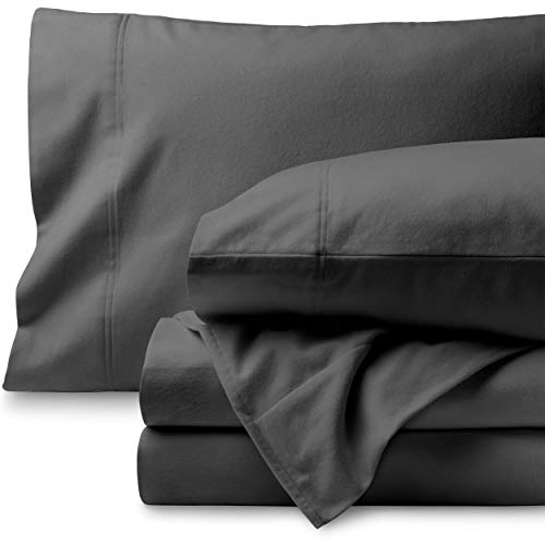 Bare Home Flannel Sheet Set 100% Cotton, Velvety Soft Heavyweight - Double Brushed Flannel - Deep Pocket (Queen, Grey) (Best Deep Pocket Flannel Sheets)