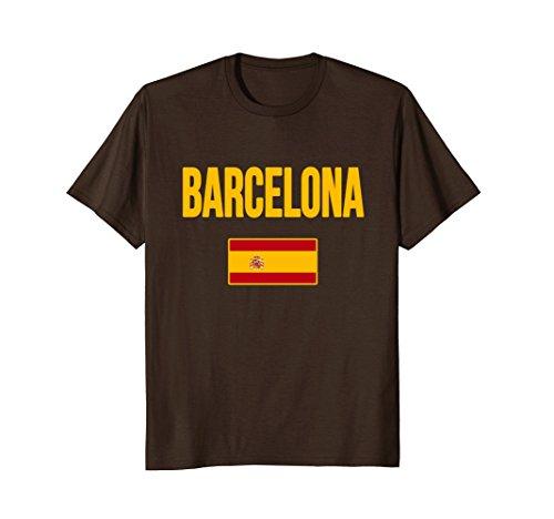 Mens Barcelona Spain T-shirt Large Brown - Barcelona Graphic T-shirt