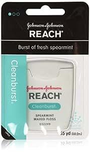 Reach Clean Burst Dental Floss, Waxed,  Spearmint, 55-Yard Dispensers (Pack of 12)