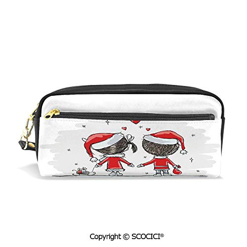 Printed Pencil Case Large Capacity Pen Bag Makeup Bag Soul Mates Love with Santa Costume Family Romance Winter Night Picture for School Office Work College -