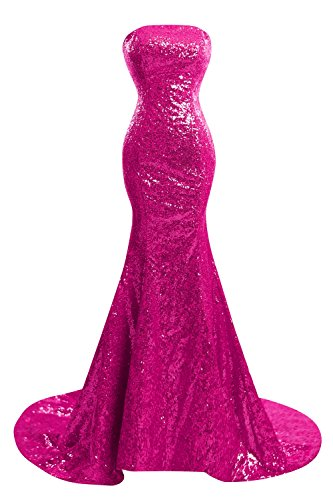 (Bess Bridal Women's Strapless Mermaid Sequined Long Formal Prom Dresses US16 Fuchsia)