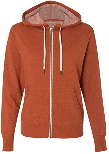 Joe's USA(tm Ladies French Terry Hooded Full-Zip Sweatshirt-Burnt.Orange-M