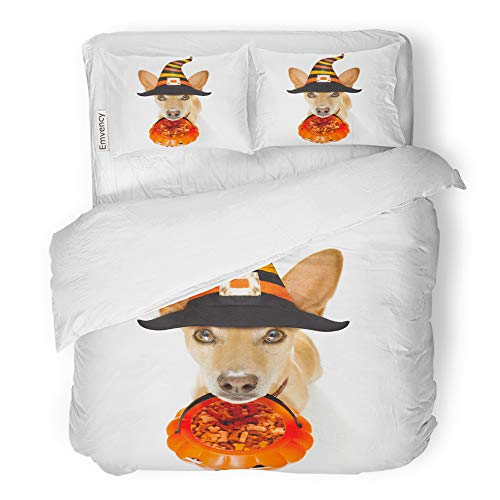 Emvency 3 Piece Duvet Cover Set Brushed Microfiber Fabric Breathable Dog Sitting As Ghost for Halloween in Front of The Door at Home Entrance Bedding Set with 2 Pillow Covers Full/Queen Size