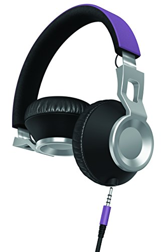Sharper Image SHP2600PU Stereo Headphones with Microphone, Tangle-Free Cord, Foldable, Purple