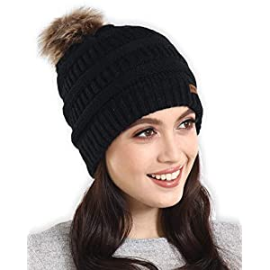 Brook + Bay Faux Fur Pom Pom Beanie Stay Warm & Stylish Thick, Soft & Chunky Cable Knit Beanie Winter Hats for Women & Men Serious Beanies for Serious Style