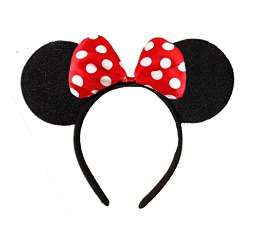 DangerousFX Black with Red Bow and White Polka Dot Minnie Mouse Disney Fancy Dress Ears Head Band