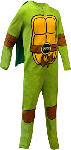 (Bioworld Merchandising Men's Teenage Mutant Ninja Turtle Fleece One Piece Pajama with Cape (Large))