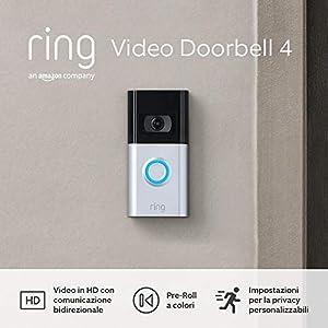 Nuovo Ring Video Doorbell 4 di Amazon – Video in HD con comunicazione bidirezionale, Pre-Roll a colori, alimentato a batteria | Include un periodo di prova gratuita di 30 giorni del piano Ring Protect