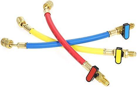 """3PCS Brass Shut Valve For A//C Charging Hose HVAC 1//4/"""" AC Refrigerant R410a R134a"""