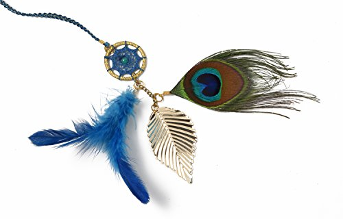 Wool Beaded Shell - Rooh Dream Catcher ~ Peacock Book Mark ~ Handmade Book marks for Positivity (Can be used in Notebooks, Diary, Magazine, Books, Handbooks, Diaries, Library Notes, GoodLuck Charm) (green)