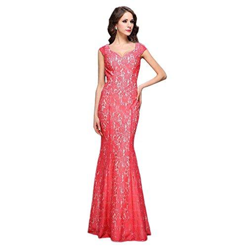 Gr 46 Maxi In Festamo Design Ital bei Damen Coral Ball Für Spitzen Kleid pT8q6