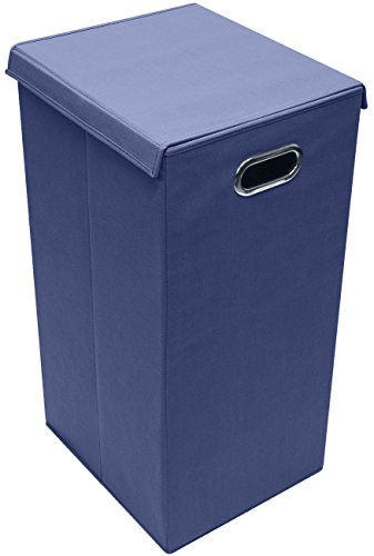Sorbus Laundry Hamper Sorter with Lid Closure – Foldable Hamper, Detachable Lid, Portable Built-In Handles for Easy Transport – Single (Navy Blue)