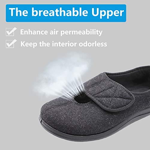 ec7bb8eb0d64 Women s Adjustable Closure Diabetic Slippers Extra Wide Width Arthritis  Edema House Shoes