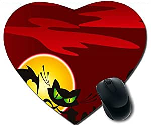 Hot Heart-Shaped Comfortable Mouse Pad - Customizable Printed On Halloween Pumpkins Crow Cat Grave And Red Sky Durable Cool Game Mouse Pad