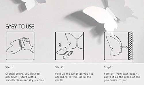 Amazoncom Blaydessales Butterfly Wall Art Pack Of  White - How do you put up wall art stickers